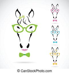 cavallo, immagine, fondo., vettore, bianco, occhiali