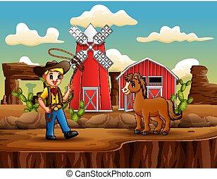 cavallo, laccio, cartone animato, cowboy