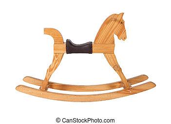 cavallo, legno, isolato, sedia, fondo, bianco, oscillante, bambini