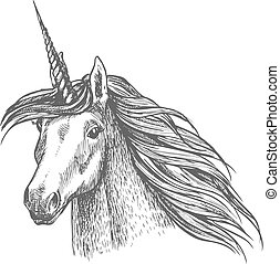 cavallo, magia, testa, schizzo, unicorno