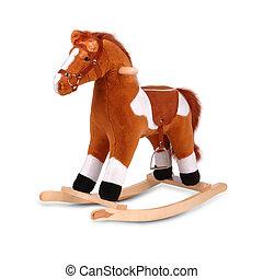 cavallo marrone, bianco, isolato, oscillante, peluche