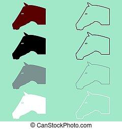 cavallo marrone, testa, grigio, nero, bianco, icon.