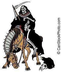 cavallo, mietitore, torvo, seduta