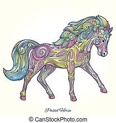 cavallo, ornamento, illustrazione, mano, vettore, disegnato
