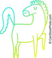 cavallo, pendenza, cartone animato, freddo, disegno, linea, felice