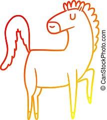 cavallo, pendenza, disegno, riscaldare, linea, cartone animato, felice