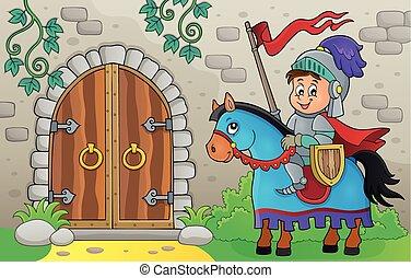 cavallo, porta, cavaliere, 1, tema, vecchio