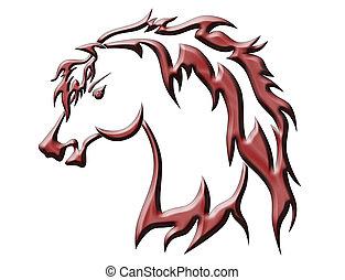 cavallo, rosso, illustrazione