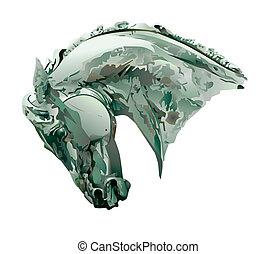 cavallo, scultura, testa