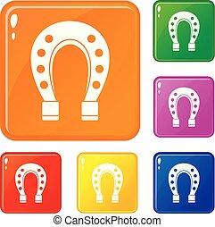 cavallo, set, icone, colorare, vettore, scarpa