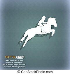 cavallo, silhouette, equestre, spazio, blu-verde, astratto, text., race., sport., vettore, icon., fondo, uggia, da corsa, tuo, derby.