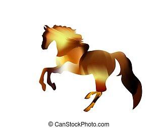 cavallo, silhouette, fuoco, stallion., funziona, arabo, infocato, rosso