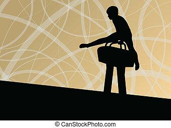 cavallo, silhouette, manifesto, astratto, illustrazione, vettore, fondo, attivo, sport, pommel, bambini