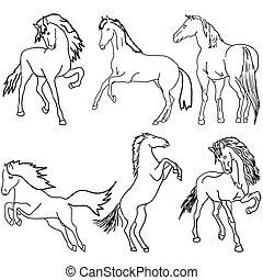 cavallo, silhouette, set., isolato, vettore, nero, bianco, design.