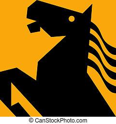 cavallo stilizzato, stallone, prancing, con, fluente, mane.