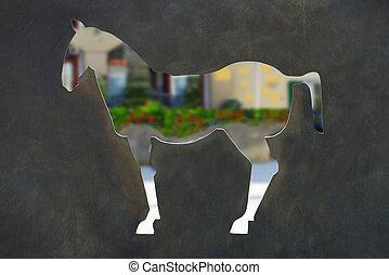 cavallo, taglio, fuori