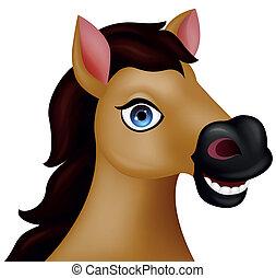 cavallo, testa, cartone animato