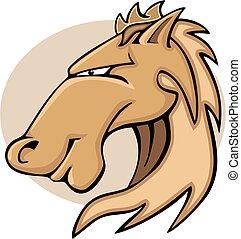 cavallo, testa, illustrazione, cartone animato