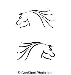 cavallo, vettore, set., emblem.