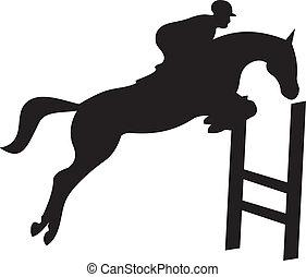 cavallo, vettore, silhouette