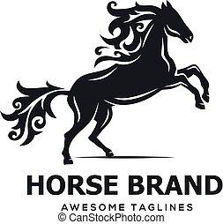 cavallo, vettore, silhouette, saltare