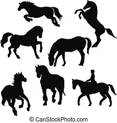cavallo, vettore, wilde, silhouette, set