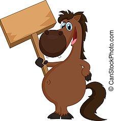 cavallo, vuoto, cartone animato, presa a terra, segno