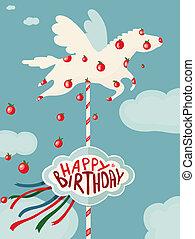 cavalo, aniversário, maçãs, carrossel, cartão, feliz