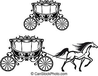 cavalo, antigas, carruagem