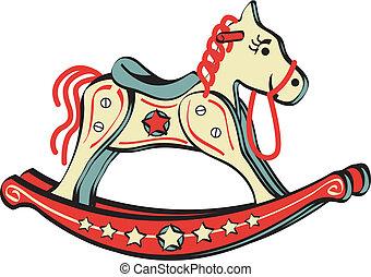 cavalo balanço, montando, brinquedo, corte arte