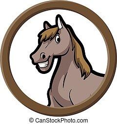 cavalo, bandeira, círculo