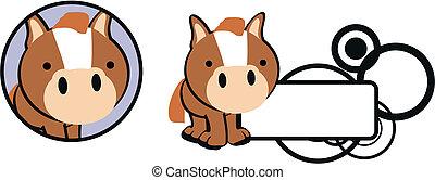 cavalo bebê, copysapce, caricatura