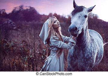 cavalo, beleza, efeito, blondie, campo, toning