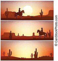 cavalo, boiadeiro, contra, experiência., silhuetas, pôr do sol, ocidental, selvagem, montando, bandeiras