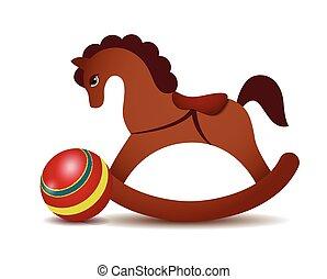 cavalo, bola, balanço, vermelho