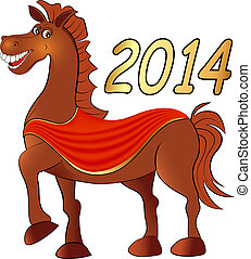 cavalo, branca, feliz, fundo, natal