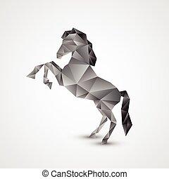 cavalo, branca, isolado, fundo