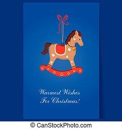 cavalo, brinquedo, texto, saudação, balanço, cartão natal