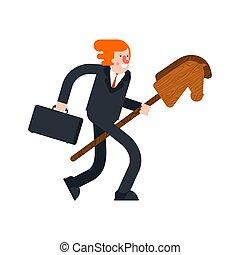 cavalo, brinquedo, wooden., jogo, vetorial, vara, criança, ...