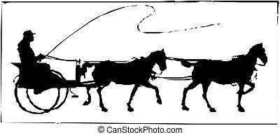cavalo, buggy, silueta