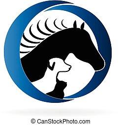 cavalo, cão, e, gato, logotipo