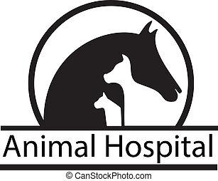 cavalo, cão, e, gato, silhuetas, logotipo