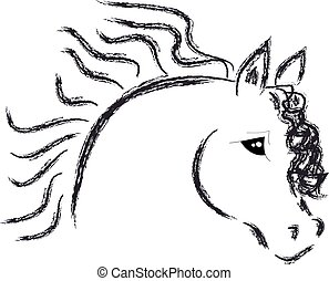 cavalo, cabeça, fundo branco
