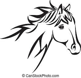 cavalo, cabeça, logotipo, vetorial