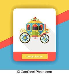 cavalo, carruagem, apartamento, ícone