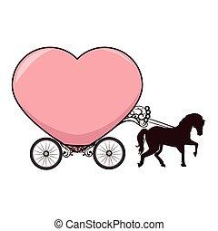 cavalo, carruagem, cartão, romanticos