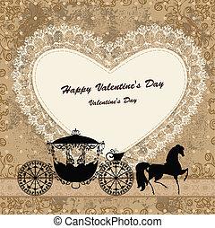 cavalo, carruagem, cartão, valentine