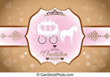 cavalo, casório, carruagem, convite