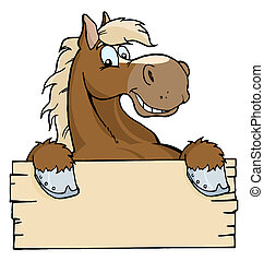 cavalo, com, um, sinal branco