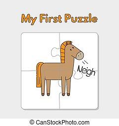 cavalo, crianças, quebra-cabeça, modelo, caricatura